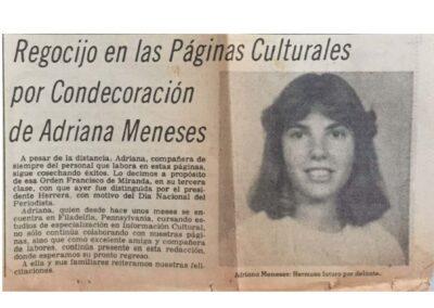 Regocijo en las Páginas Culturales por Condecoración de Adriana Meneses